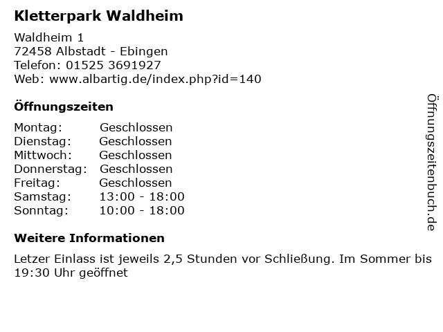 Kletterpark Waldheim in Albstadt - Ebingen: Adresse und Öffnungszeiten