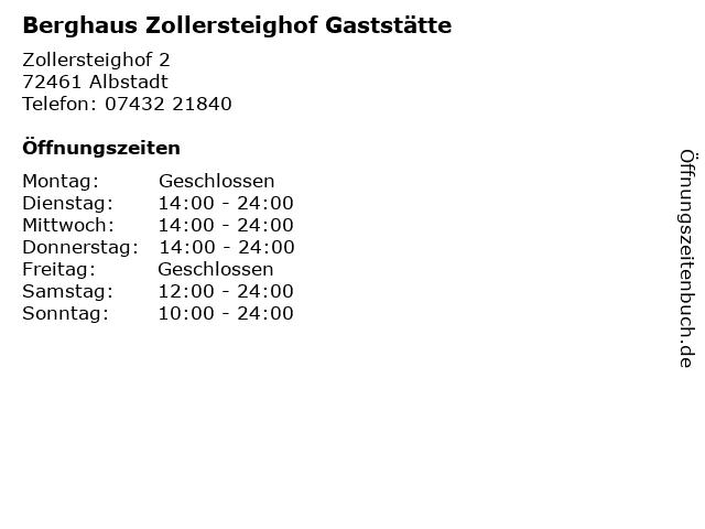 Berghaus Zollersteighof Gaststätte in Albstadt: Adresse und Öffnungszeiten