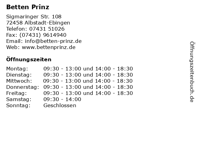 Betten Prinz in Albstadt-Ebingen: Adresse und Öffnungszeiten