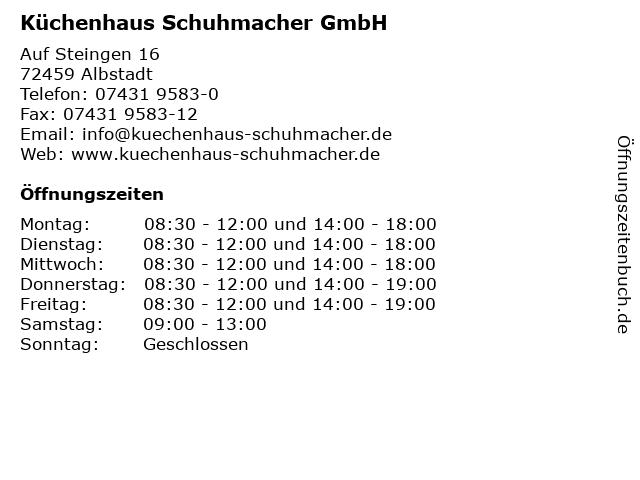 ᐅ Offnungszeiten Kuchenhaus Schuhmacher Gmbh Auf Steingen 16 In