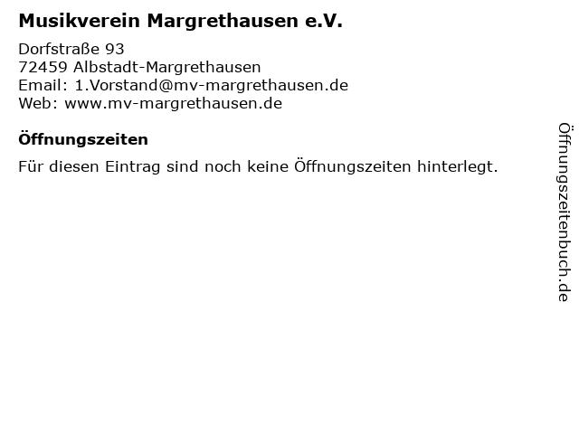 Musikverein Margrethausen e.V. in Albstadt-Margrethausen: Adresse und Öffnungszeiten