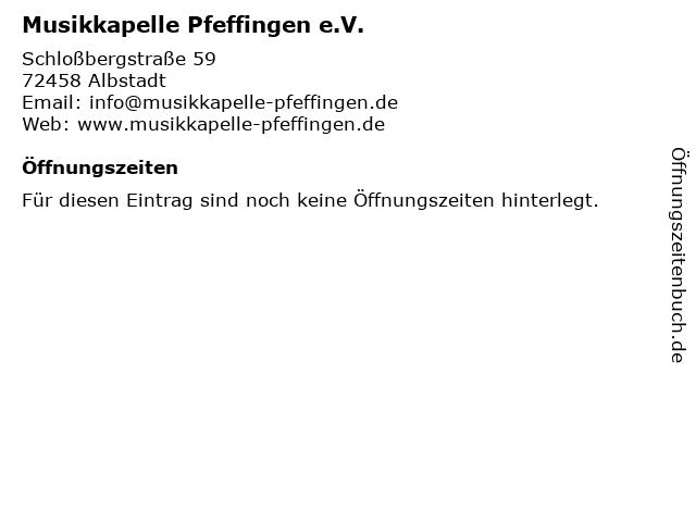 Musikkapelle Pfeffingen e.V. in Albstadt: Adresse und Öffnungszeiten