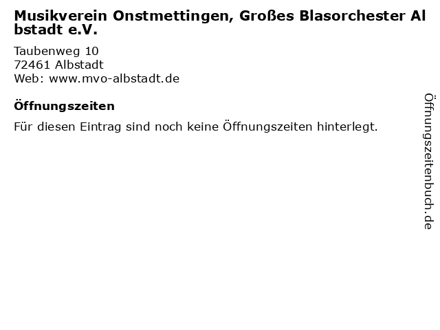 Musikverein Onstmettingen, Großes Blasorchester Albstadt e.V. in Albstadt: Adresse und Öffnungszeiten