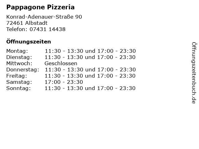 Pappagone Pizzeria in Albstadt: Adresse und Öffnungszeiten