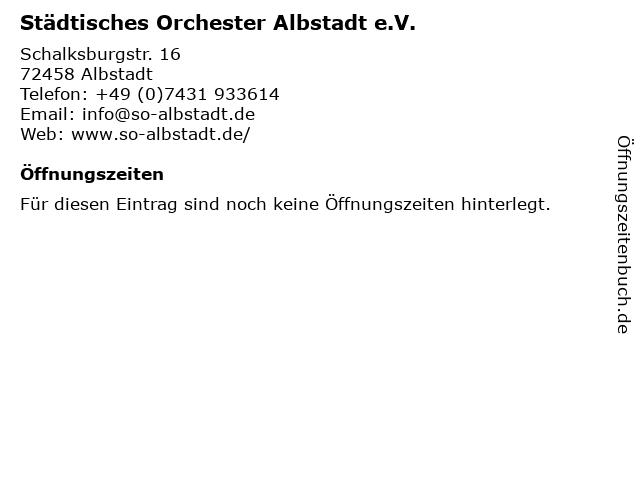 Städtisches Orchester Albstadt e.V. in Albstadt: Adresse und Öffnungszeiten