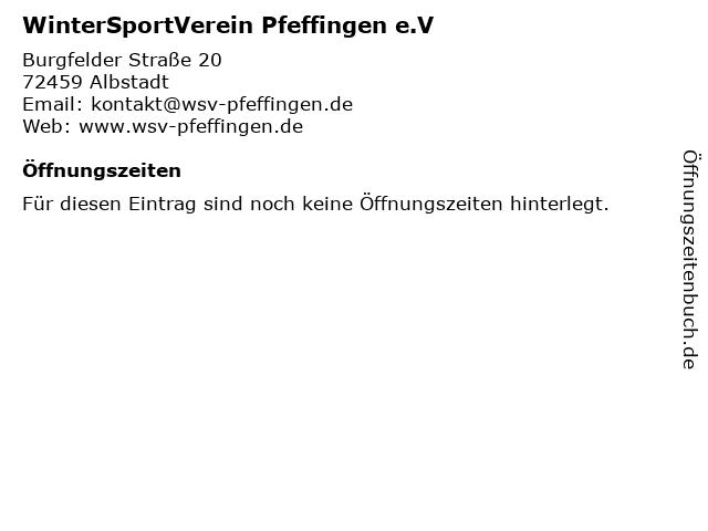 WinterSportVerein Pfeffingen e.V in Albstadt: Adresse und Öffnungszeiten
