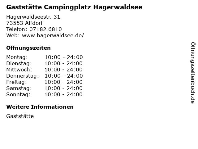 Gaststätte Campingplatz Hagerwaldsee in Alfdorf: Adresse und Öffnungszeiten