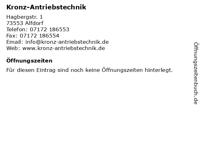 Kronz-Antriebstechnik in Alfdorf: Adresse und Öffnungszeiten