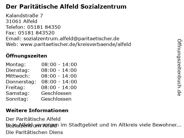 Paritätischer Wohlfahrtsverband Niedersachsen e.V. in Alfeld: Adresse und Öffnungszeiten