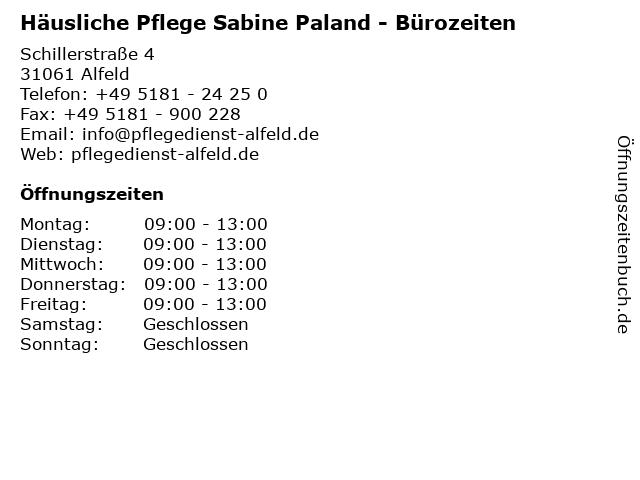 Häusliche Pflege Sabine Paland - Bürozeiten in Alfeld: Adresse und Öffnungszeiten