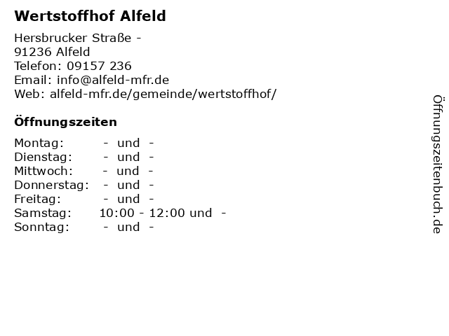 Wertstoffhof Alfeld in Alfeld: Adresse und Öffnungszeiten
