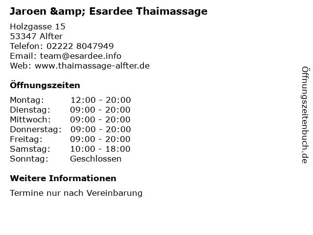 Jaroen, Traditionelle Thaimassage in Alfter: Adresse und Öffnungszeiten