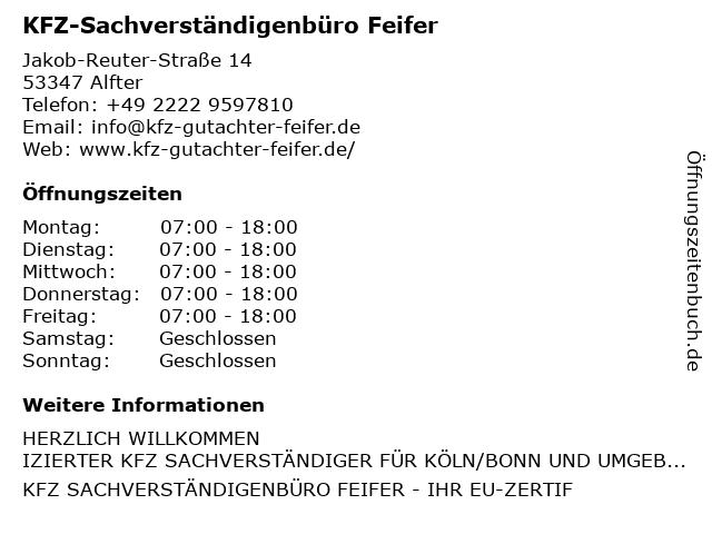 KFZ-Sachverständigenbüro Feifer in Alfter: Adresse und Öffnungszeiten