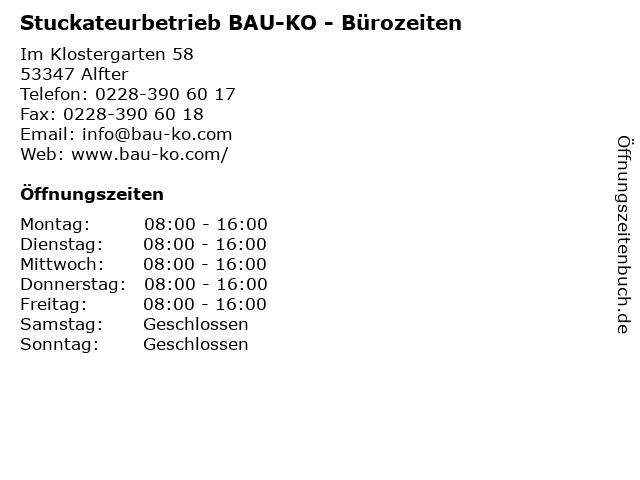 Stuckateurbetrieb BAU-KO - Bürozeiten in Alfter: Adresse und Öffnungszeiten