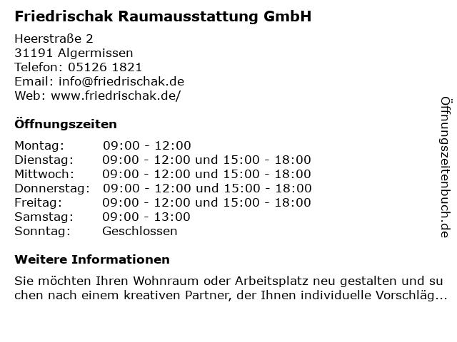 Friedrischak Raumausstattung GmbH in Algermissen: Adresse und Öffnungszeiten