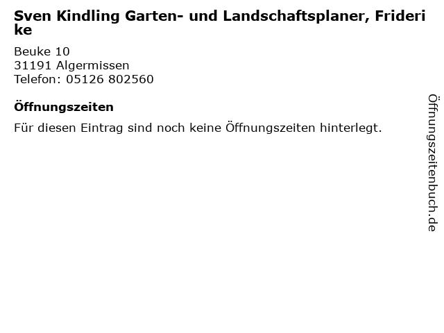 Sven Kindling Garten- und Landschaftsplaner, Friderike in Algermissen: Adresse und Öffnungszeiten