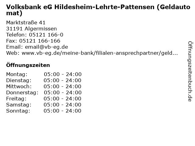 Volksbank eG Hildesheim-Lehrte-Pattensen (Geldautomat) in Algermissen: Adresse und Öffnungszeiten