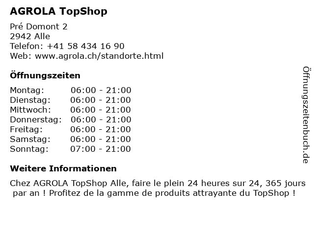 Agrola Tankstelle - TopShop in Alle: Adresse und Öffnungszeiten