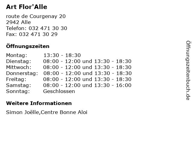 Art Flor'Alle in Alle: Adresse und Öffnungszeiten