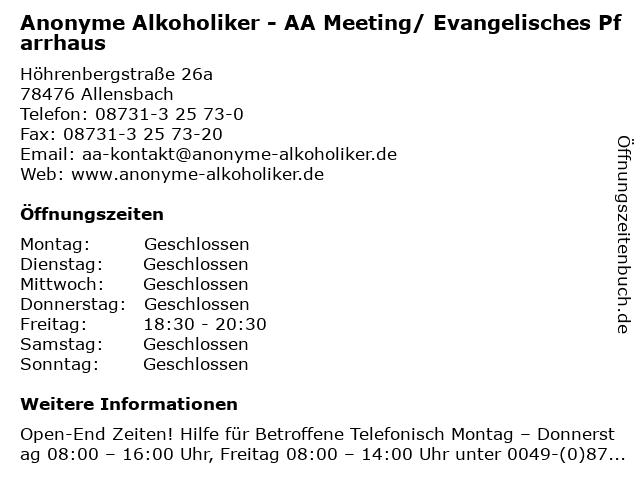 Anonyme Alkoholiker - AA Meeting/ Evangelisches Pfarrhaus in Allensbach: Adresse und Öffnungszeiten