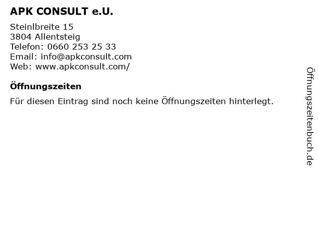 APK CONSULT e.U. in Allentsteig: Adresse und Öffnungszeiten
