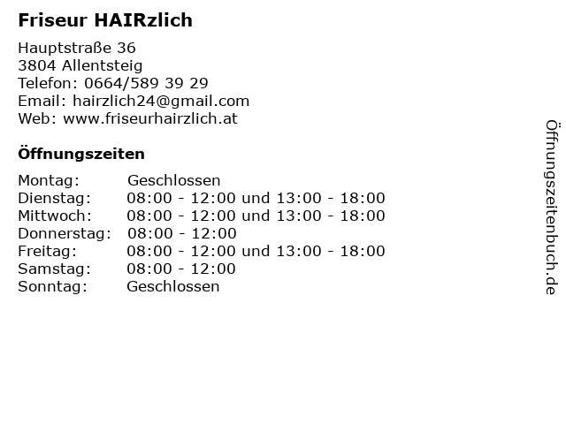 Friseur HAIRzlich in Allentsteig: Adresse und Öffnungszeiten