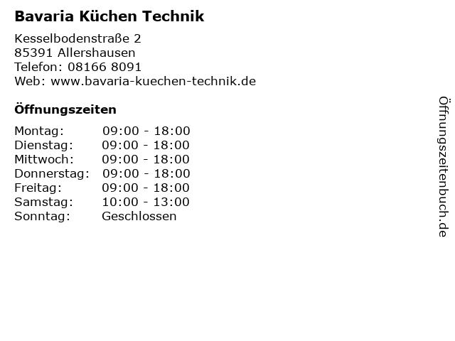 ᐅ Offnungszeiten Bavaria Kuchen Technik Kesselbodenstrasse 2 In