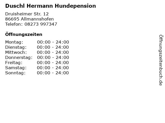 Duschl Hermann Hundepension in Allmannshofen: Adresse und Öffnungszeiten