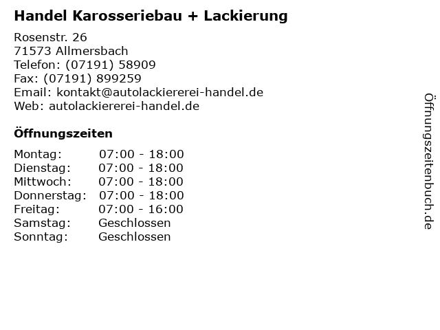Handel Karosseriebau + Lackierung in Allmersbach: Adresse und Öffnungszeiten