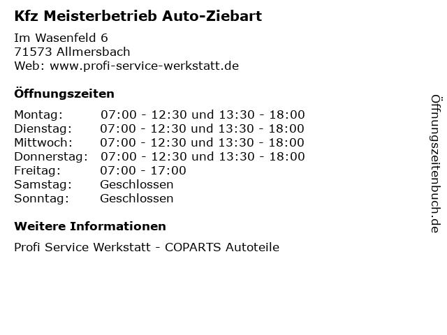 Kfz Meisterbetrieb Auto-Ziebart in Allmersbach: Adresse und Öffnungszeiten