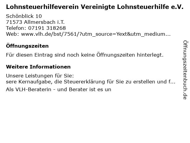 Vereinigte Lohnsteuerhilfe e.V. - Christa Krautter in Allmersbach: Adresse und Öffnungszeiten