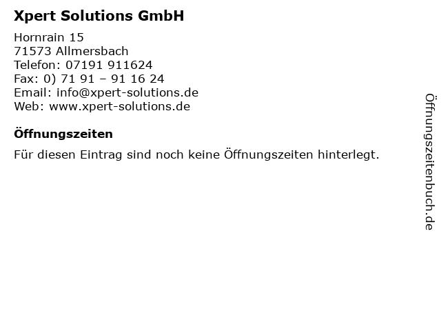 Xpert Solutions GmbH in Allmersbach: Adresse und Öffnungszeiten