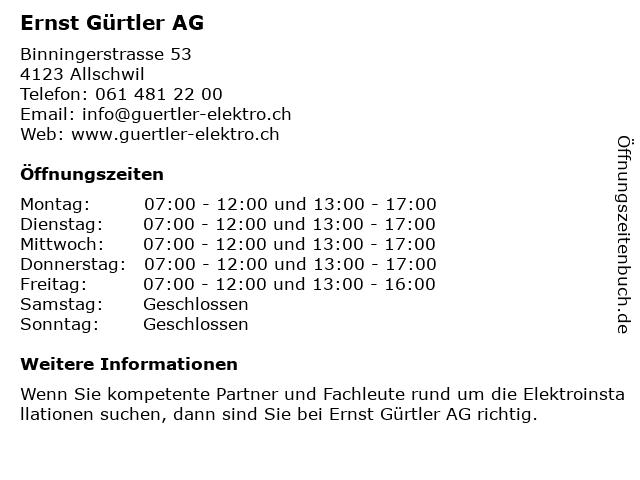 Ernst Gürtler AG in Allschwil: Adresse und Öffnungszeiten