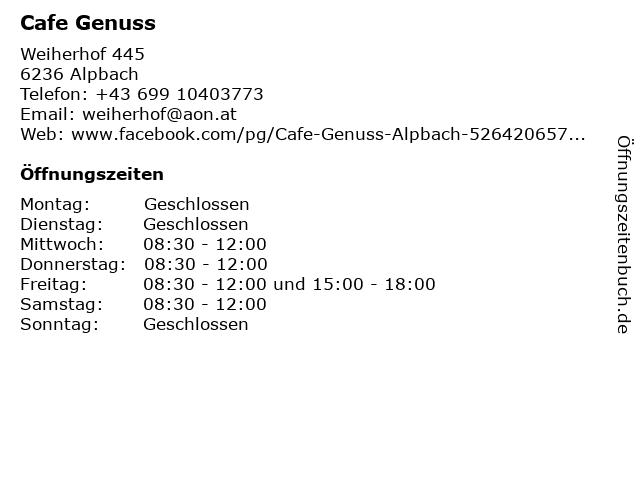 Cafe Genuss in Alpbach: Adresse und Öffnungszeiten