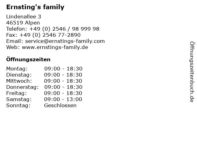 Ernsting's family GmbH & Co. KG in Alpen: Adresse und Öffnungszeiten