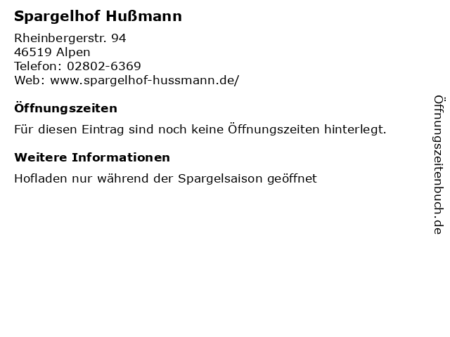 Spargelhof Hußmann in Alpen: Adresse und Öffnungszeiten