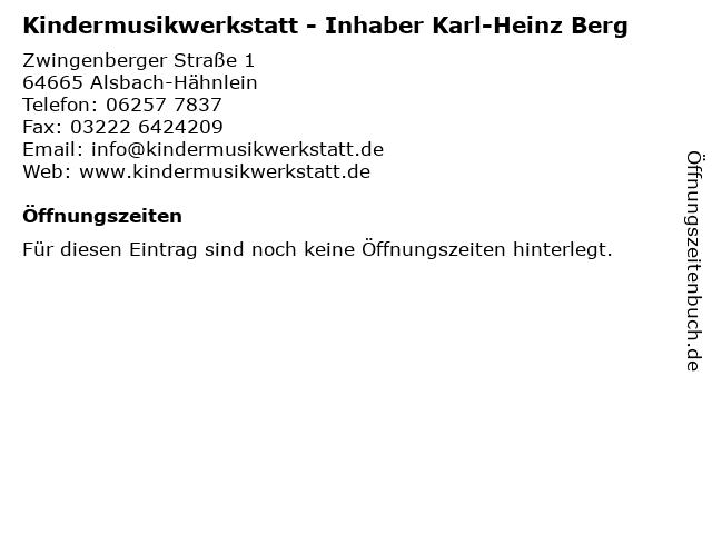 Kindermusikwerkstatt - Inhaber Karl-Heinz Berg in Alsbach-Hähnlein: Adresse und Öffnungszeiten