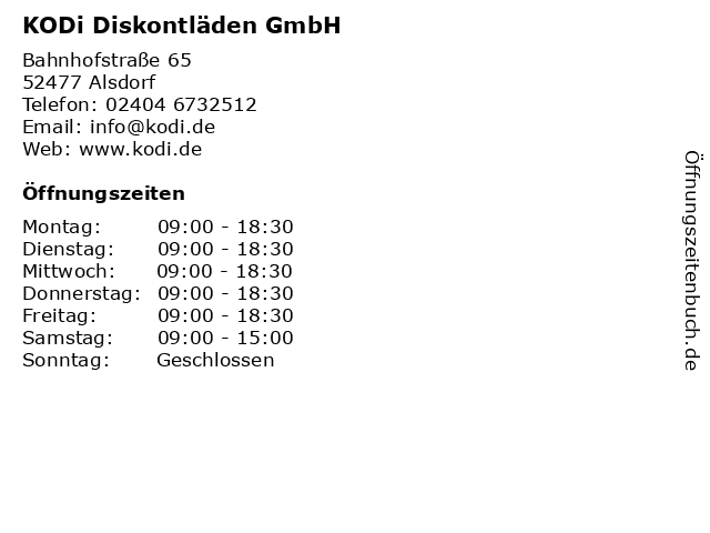 KODi Diskontläden GmbH in Alsdorf: Adresse und Öffnungszeiten