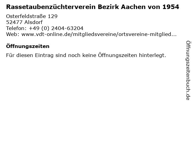 Rassetaubenzüchterverein Bezirk Aachen von 1954 in Alsdorf: Adresse und Öffnungszeiten
