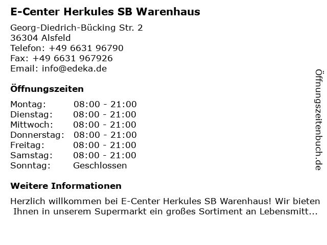 E-Center Herkules SB Warenhaus in Alsfeld: Adresse und Öffnungszeiten