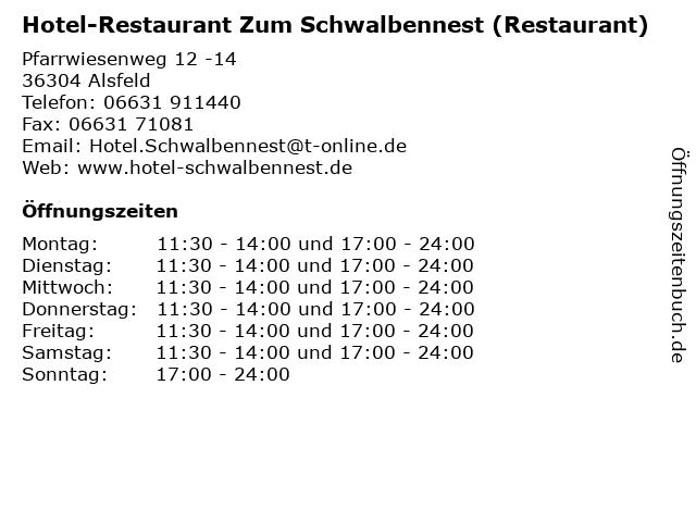 Hotel-Restaurant Zum Schwalbennest (Restaurant) in Alsfeld: Adresse und Öffnungszeiten