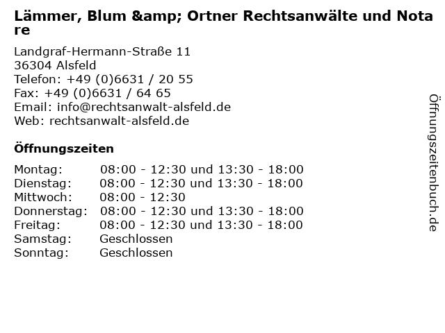 Lämmer, Blum & Ortner Rechtsanwälte und Notare in Alsfeld: Adresse und Öffnungszeiten
