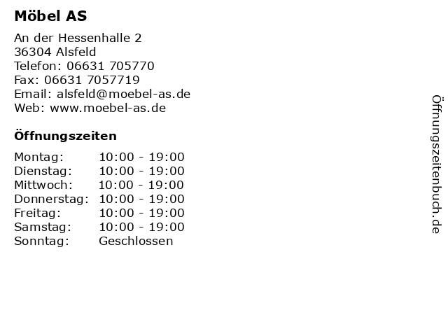 ᐅ öffnungszeiten Möbel As An Der Hessenhalle 2 In Alsfeld