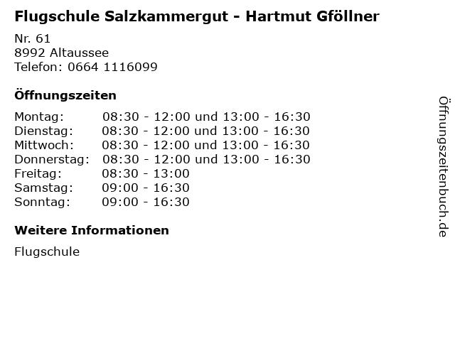 Flugschule Salzkammergut - Hartmut Gföllner in Altaussee: Adresse und Öffnungszeiten