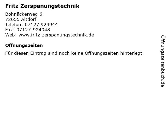 Fritz Zerspanungstechnik in Altdorf: Adresse und Öffnungszeiten