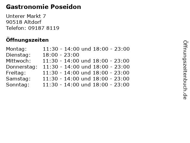 Gastronomie Poseidon in Altdorf: Adresse und Öffnungszeiten