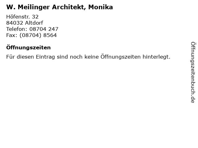 W. Meilinger Architekt, Monika in Altdorf: Adresse und Öffnungszeiten