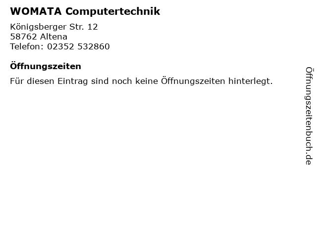 WOMATA Computertechnik in Altena: Adresse und Öffnungszeiten