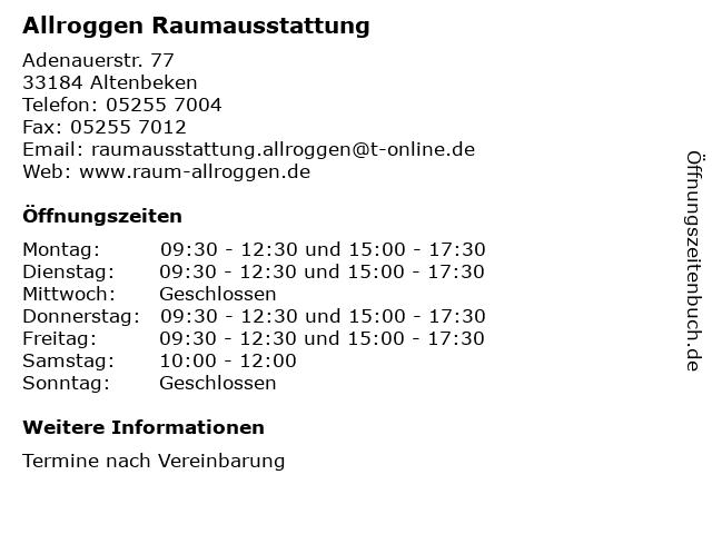 Allroggen Raumausstattung in Altenbeken: Adresse und Öffnungszeiten
