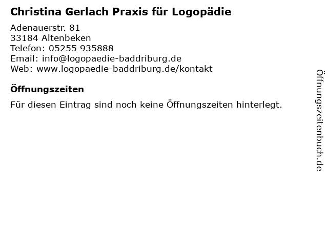Christina Gerlach Praxis für Logopädie in Altenbeken: Adresse und Öffnungszeiten